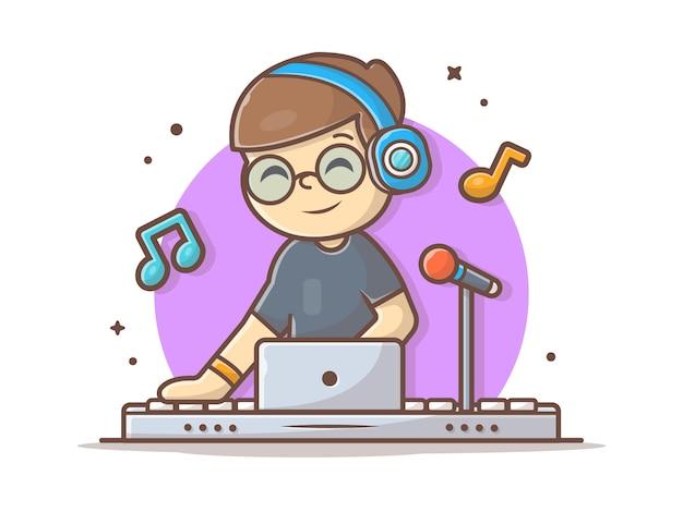 Disco bonito feliz jockey performance com ilustração do ícone do fone de ouvido. música de dança eletrônica branca isolada Vetor Premium