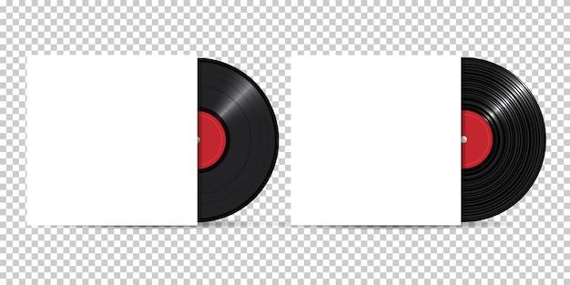 Disco de vinil com capa em branco, estilo realista, conjunto Vetor Premium