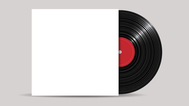 Disco de vinil com capa em branco, estilo realista Vetor Premium