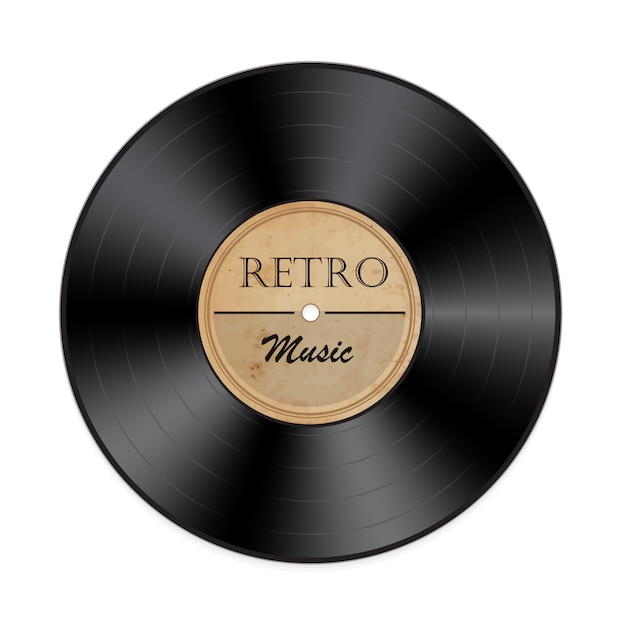Disco de vinil retrô em branco Vetor Premium