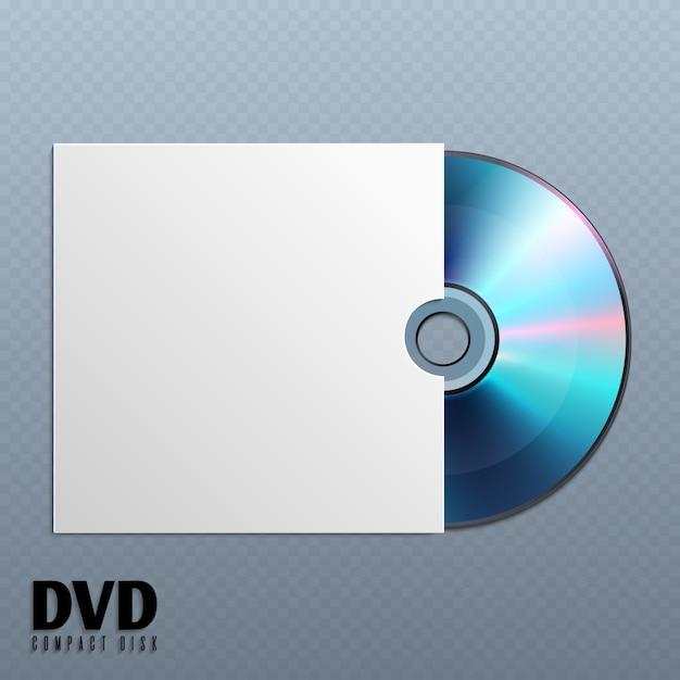 Disco do cd de dvd com ilustração vazia branca da tampa do envelope. Vetor Premium
