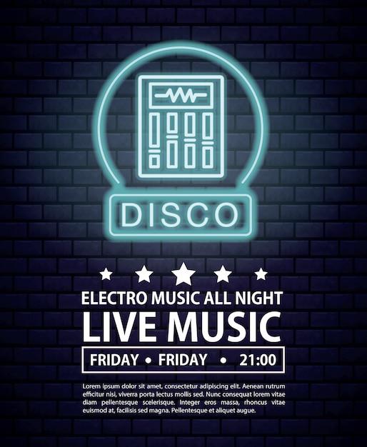 Disco electro music invitation poster luzes de néon cores Vetor Premium