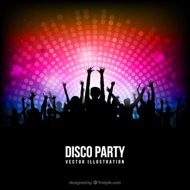 Disco party poster com silhuetas Vetor Premium