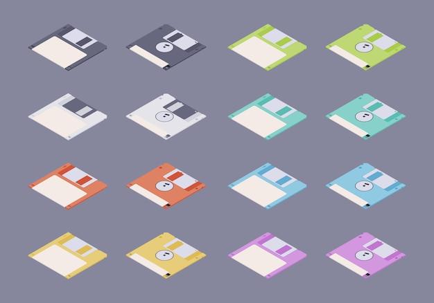 Discos flexíveis planos coloridos isométricos, conjunto de disquetes Vetor Premium