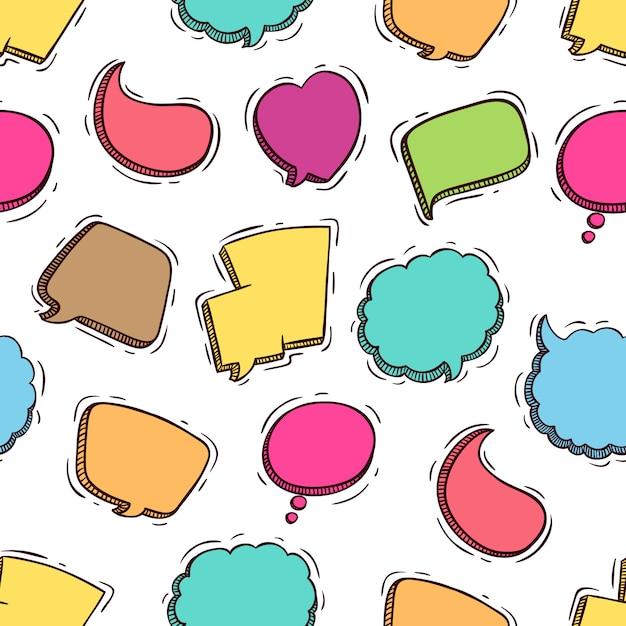 Discurso colorido bonito bolhas padrão sem emenda com estilo doodle Vetor Premium