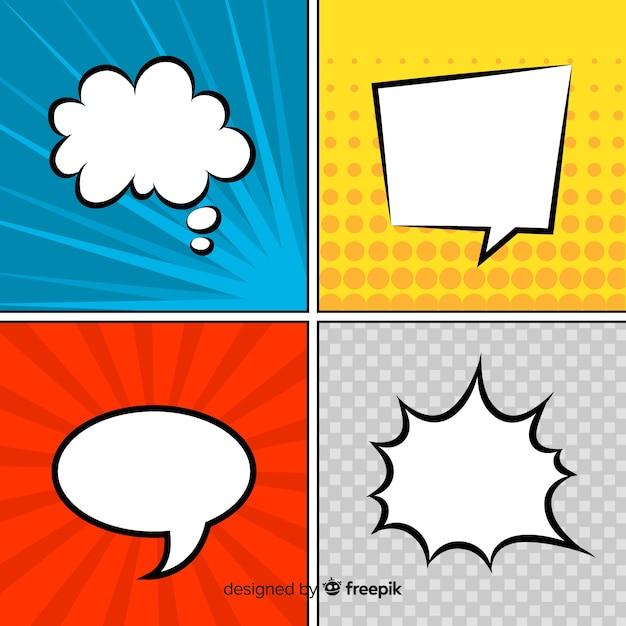 Discurso em quadrinhos bolhas coleção colorida Vetor grátis