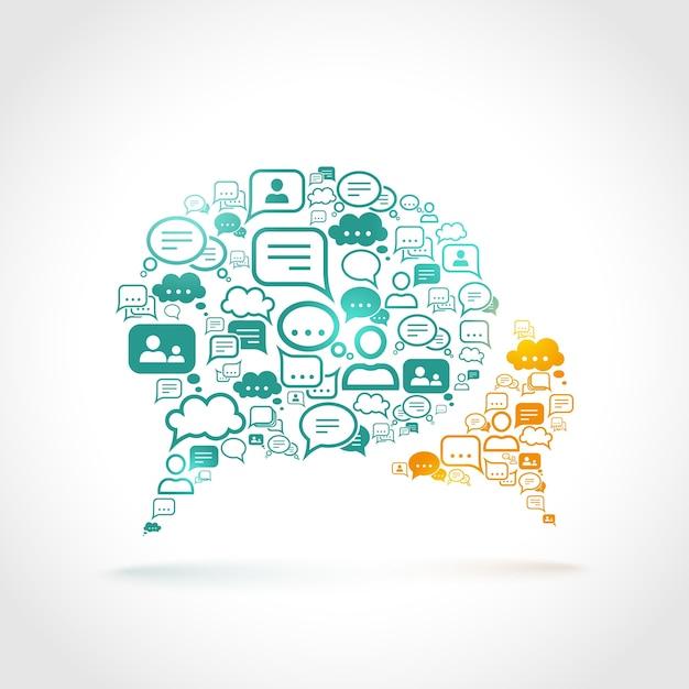 Discussão comunicação discurso bolha conjunto comunicação símbolos conceito ilustração vetorial Vetor grátis