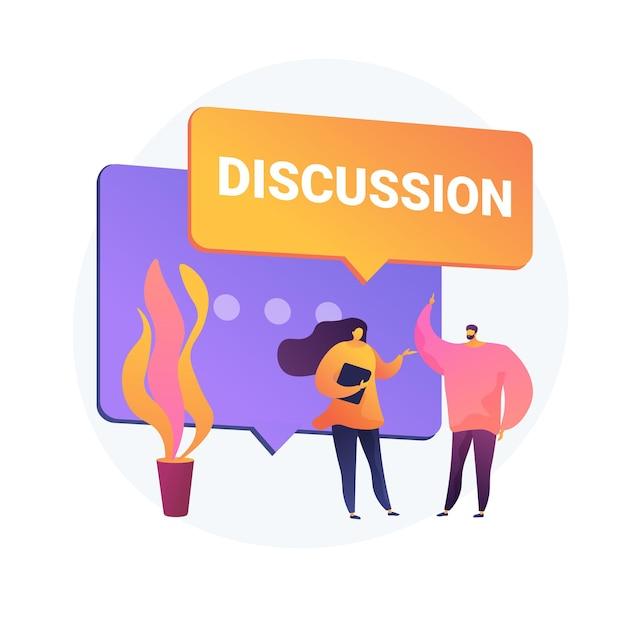 Discussão de negócios. comunicação verbal, conversa com colegas, conferência corporativa. negociação de estabelecimento de parceria. reunião de escritório. Vetor grátis