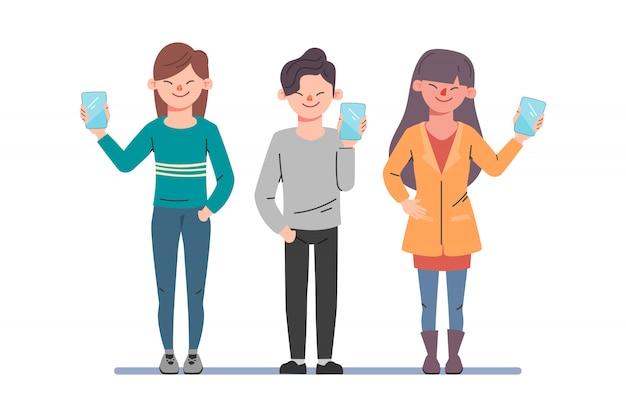Discutindo pessoas de negócios. homem e mulher falando nas mídias sociais. ilustração em vetor desenhos animados em estilo simples Vetor Premium