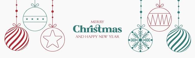 Display moderno de natal e feliz ano novo com design plano Vetor grátis