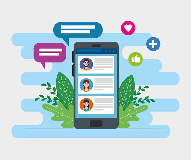 Dispositivo de smartphone com bate-papo e mídias sociais Vetor Premium