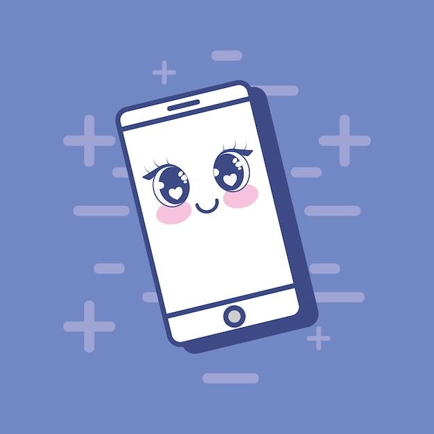 Dispositivo de smartphone kawaii Vetor Premium