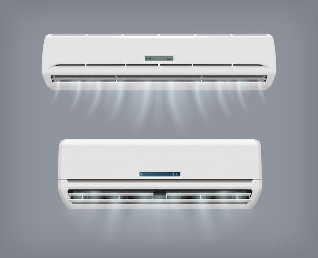 Dispositivo de vetor de condicionador de ar para condicionamento doméstico. Vetor Premium