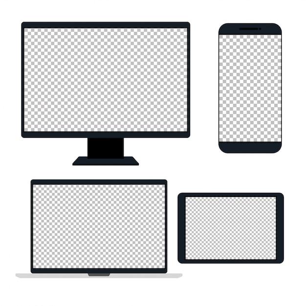 Dispositivos eletrônicos, dispositivo realista, modelo para um conteúdo Vetor Premium