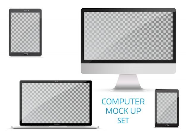 Dispositivos eletrônicos, isolados, no fundo branco. Vetor Premium