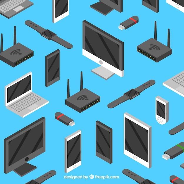 Dispositivos tecnológicos com design plano Vetor grátis
