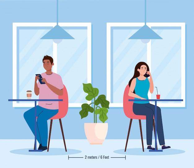 Distância social em restaurante novo conceito, casal comendo em mesas, proteção, prevenção de coronavírus secreto 19 Vetor Premium