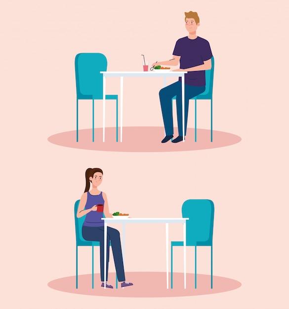 Distância social em restaurante novo conceito, casal em mesas, proteção, prevenção de coronavírus secreto 19 Vetor Premium