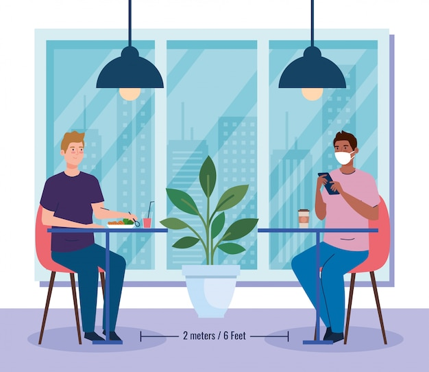 Distância social em restaurante novo conceito, homens do grupo nas mesas, proteção, prevenção de coronavírus secreto 19 Vetor Premium