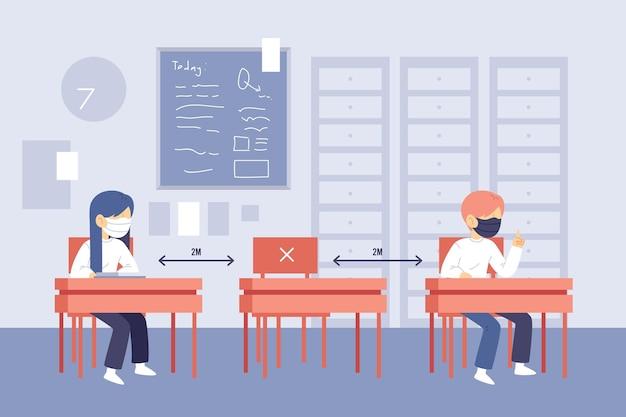 Distanciamento social de crianças na escola ilustrado Vetor grátis