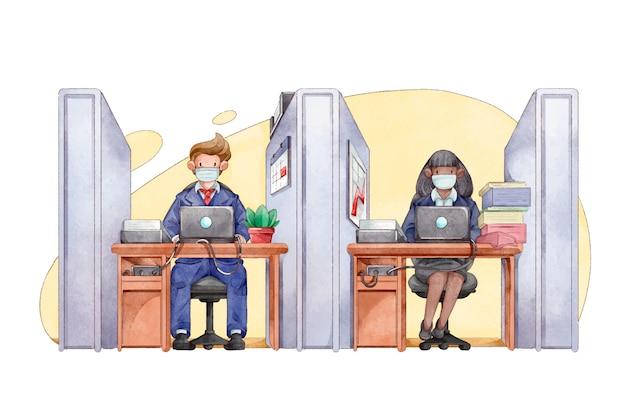 Distanciamento social de pessoas no escritório Vetor grátis