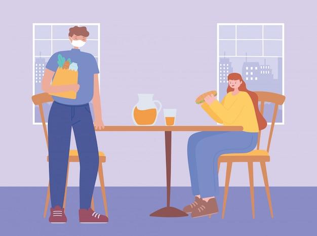 Distanciamento social do restaurante, medidas preventivas para homens e mulheres etapas para se proteger, pessoas com máscara facial médica, coronavírus Vetor Premium