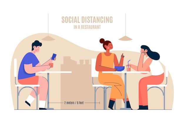 Distanciamento social em um conceito de restaurante Vetor grátis