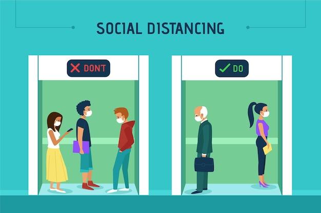 Distanciamento social em um elevador Vetor grátis
