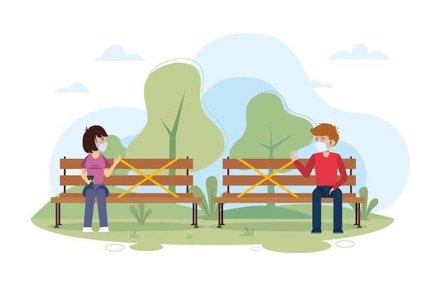 Distanciamento social em um parque Vetor grátis