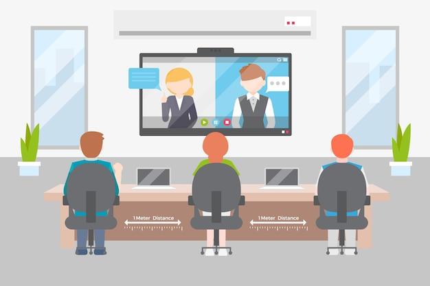 Distanciamento social em um projeto de ilustração de reunião Vetor grátis