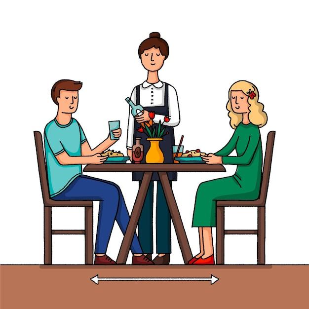 Distanciamento social em um restaurante com pessoas Vetor grátis