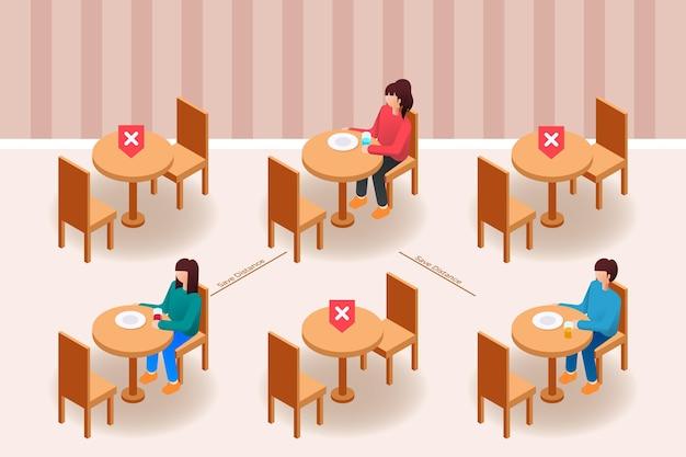 Distanciamento social em um restaurante Vetor Premium