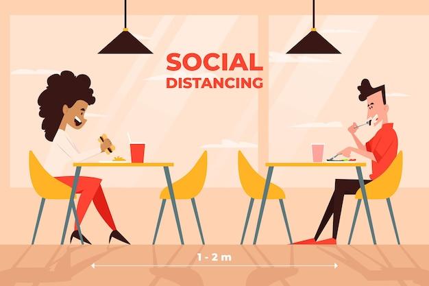 Distanciamento social em um restaurante Vetor grátis