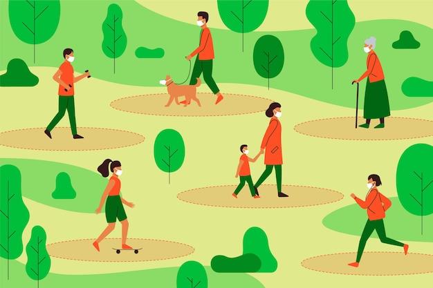 Distanciamento social em uma ilustração do parque Vetor grátis