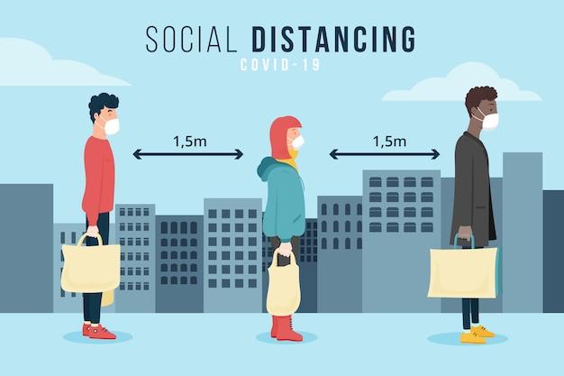 Distanciamento social ilustrado conceito Vetor Premium