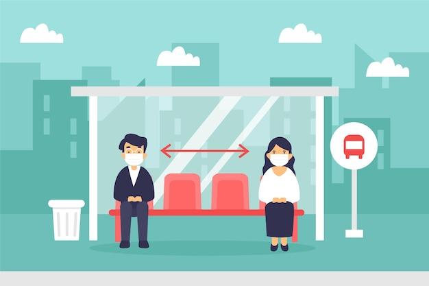 Distanciamento social ilustrado no transporte público Vetor grátis