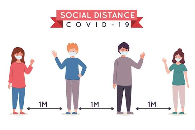 Distanciamento social, mas permanecendo juntos Vetor Premium