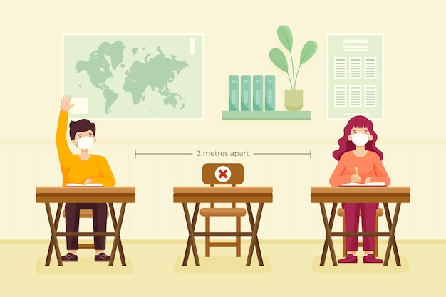 Distanciamento social na escola Vetor grátis