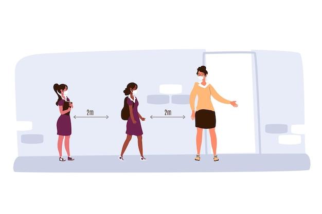 Distanciamento social na ilustração escolar Vetor grátis