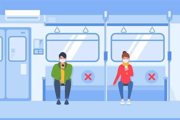 Distanciamento social no transporte público Vetor grátis