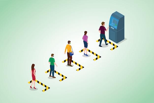 Distanciamento social ou conceito de distanciamento físico com fila de pessoas na linha de caixa eletrônico com estilo isométrico moderno Vetor Premium