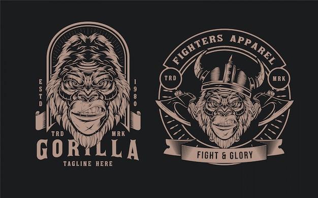 Distintivo de cabeça de gorila Vetor Premium