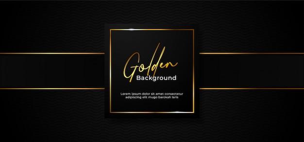 Distintivo de caixa de papel profissional de luxo simples com moldura quadrada dourada cintilante em fundo preto escuro Vetor Premium