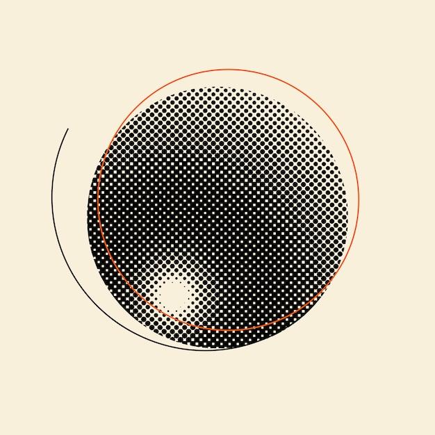 Distintivo de meio-tom vintage preto no vetor de fundo bege Vetor grátis
