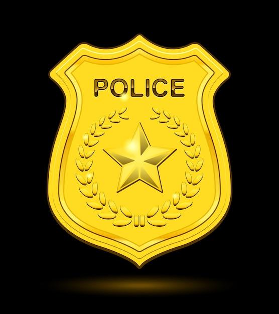 Distintivo de ouro da polícia isolado Vetor grátis