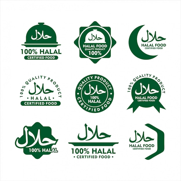 Distintivo design de comida halal Vetor Premium