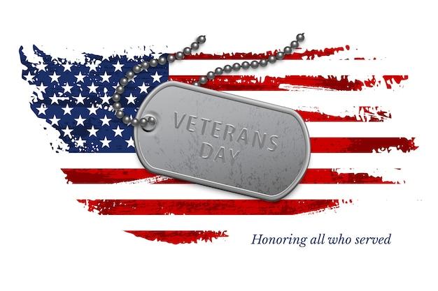 Distintivo militar prata na corrente com texto do dia dos veteranos sobre a bandeira americana nacional do grunge. Vetor Premium