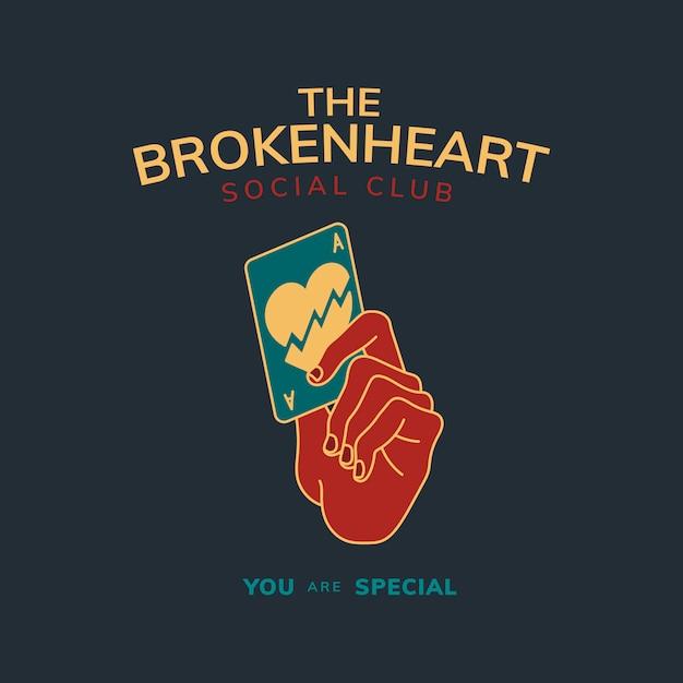 Distintivo vintage com texto o vetor de design de coração partido Vetor grátis