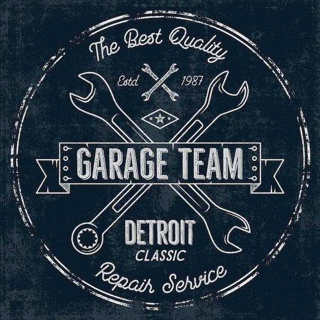 Distintivo vintage de serviço de garagem Vetor Premium
