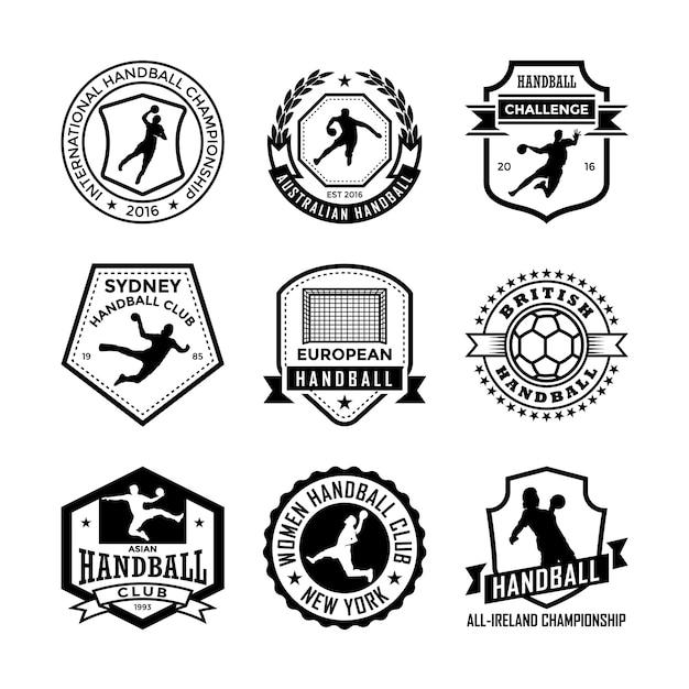 Distintivos de handball Vetor Premium